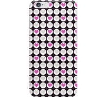 Pink Hearts and White Dots on Black Checkered Pattern iPhone Case/Skin