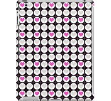 Pink Hearts and White Dots on Black Checkered Pattern iPad Case/Skin