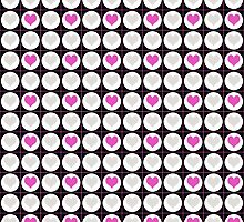 Pink Hearts and White Dots on Black Checkered Pattern by Mercury McCutcheon
