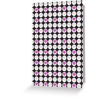 Pink Hearts and White Dots on Black Checkered Pattern Greeting Card