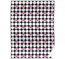 Pink Hearts and White Dots on Black Checkered Pattern Poster