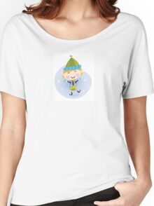 Santa christmas elf. Cute christmas elf in green costume Women's Relaxed Fit T-Shirt