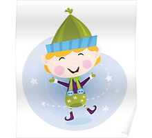Santa christmas elf. Cute christmas elf in green costume Poster