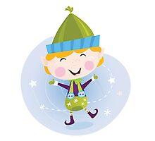 Santa christmas elf. Cute christmas elf in green costume Photographic Print