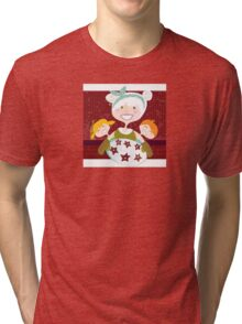 Grandmother with sweet cookies. Grandmother with perfect cookies. Tri-blend T-Shirt