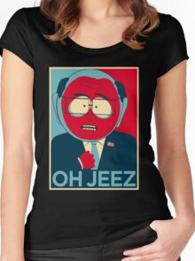 MR GARRISON OH JEEZ Women's Fitted Scoop T-Shirt
