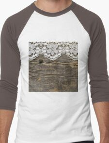 Rustic,worn,old,wood wall,white,lace,vintage,shabby chic,country chic,pattern,elegant, Men's Baseball ¾ T-Shirt