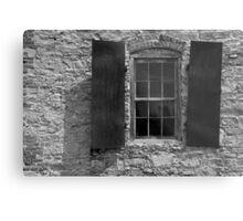 Blacksmith Shop Window 3 BW Metal Print
