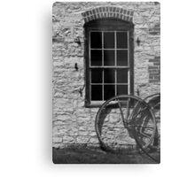 Blacksmith Shop Window w Wheel BW Metal Print
