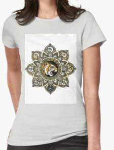 Black and Gold Roaring Tiger Mandala With 8 Cat Eyes Womens Fitted T-Shirt