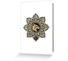Black and Gold Roaring Tiger Mandala With 8 Cat Eyes Greeting Card