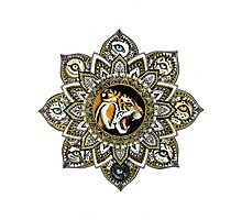 Black and Gold Roaring Tiger Mandala With 8 Cat Eyes Photographic Print