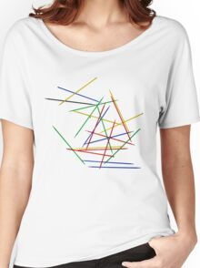 Colored Pick up Sticks Overlapping lines  Women's Relaxed Fit T-Shirt