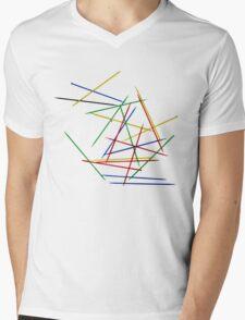 Colored Pick up Sticks Overlapping lines  Mens V-Neck T-Shirt