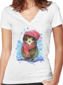 Owl in winter watercolor illustration Women's Fitted V-Neck T-Shirt