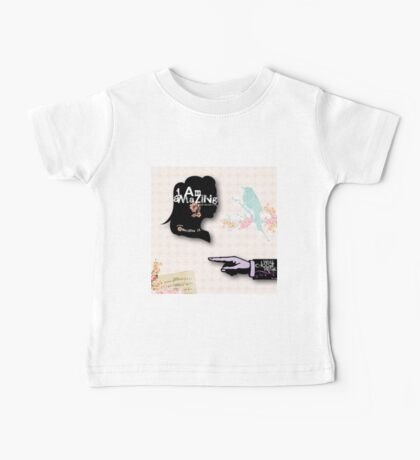 shabby chic,collage,water color, hand painted,bird,floral,typography,cool text,modern trendy Baby Tee