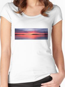 Panoramic Crimson Sunrise. Photo Art, Prints, Gifts, and Apparel. Women's Fitted Scoop T-Shirt