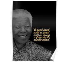 """A good head... """"Nelson Mandela"""" Inspirational Quote Poster"""