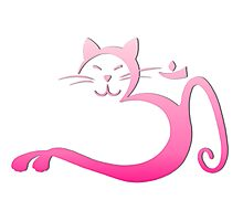 Om Kitty - Pink Fade Photographic Print