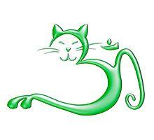 Om Kitty - Liquid Green Photographic Print