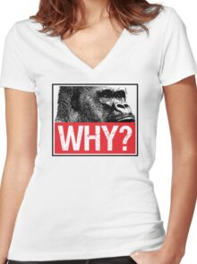 Harambe - Why? Women's Fitted V-Neck T-Shirt