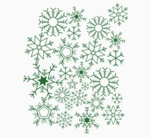 Snowflakes on green Baby Tee