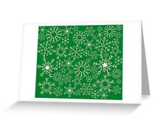 Snowflakes on green Greeting Card