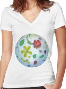 VINTAGE DRIED FLOWERS Women's Fitted V-Neck T-Shirt