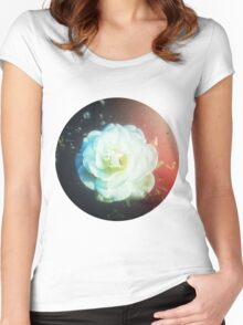 VINTAGE WHITE FLOWER Women's Fitted Scoop T-Shirt