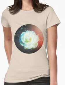 VINTAGE WHITE FLOWER Womens Fitted T-Shirt