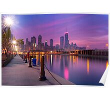 City Dreams - Chicago Skyline at Sunset Poster