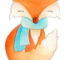 Cute fox cub whimsical winter watercolor art by Sarah Trett