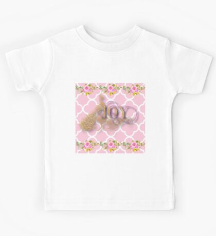 Joy.gold,typography,cool text,pink,white,moroccan,quatrefoil,pattern,floral,flowers,small roses,modern,trendy,elegant,cute,country chic Kids Tee
