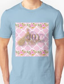 Joy.gold,typography,cool text,pink,white,moroccan,quatrefoil,pattern,floral,flowers,small roses,modern,trendy,elegant,cute,country chic Unisex T-Shirt
