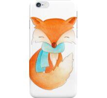 Cute fox cub whimsical winter watercolor art iPhone Case/Skin
