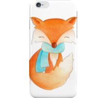 Cute fox cub whimsical winter watercolor art iPhone Case/Skin