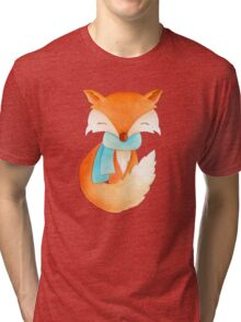 Cute fox cub whimsical winter watercolor art Tri-blend T-Shirt