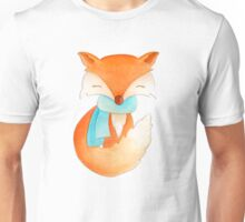 Cute fox cub whimsical winter watercolor art Unisex T-Shirt