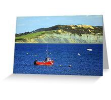 Fishing boat on the jurassic coast Greeting Card