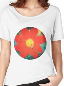 VINTAGE RED FLOWER INDIA Women's Relaxed Fit T-Shirt