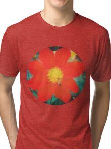 VINTAGE RED FLOWER Tri-blend T-Shirt