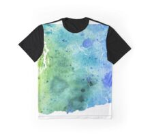 Watercolor Map of Washington, USA in Blue and Green - Giclee Print of My Own Watercolor Painting Graphic T-Shirt