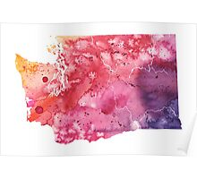 Watercolor Map of Washington, USA in Orange, Red and Purple - Giclee Print of my Own Painting Poster