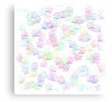 Tiny Pastel Rainbow Colored Paws Canvas Print
