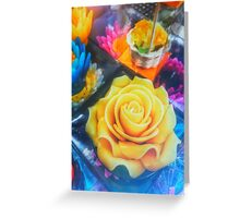 Wax Candle Flowers Greeting Card