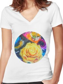 Wax Candle Flowers Women's Fitted V-Neck T-Shirt
