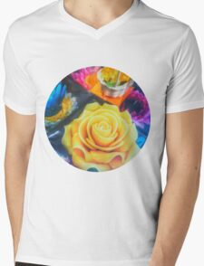 Wax Candle Flowers Mens V-Neck T-Shirt