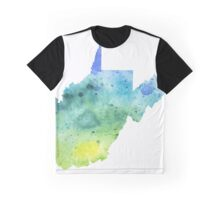 Watercolor Map of West Virginia, USA in Blue and Green - Giclee Print of My Own Watercolor Painting Graphic T-Shirt