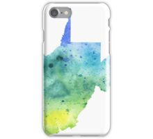 Watercolor Map of West Virginia, USA in Blue and Green - Giclee Print of My Own Watercolor Painting iPhone Case/Skin