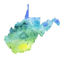 Watercolor Map of West Virginia, USA in Blue and Green - Giclee Print of My Own Watercolor Painting Photographic Print